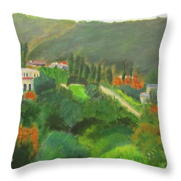 Throw Pillow featuring the painting Ein Hod View by Linda Feinberg