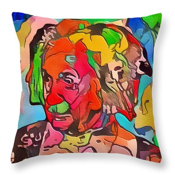 Throw Pillow featuring the painting Einstein by Mark Taylor