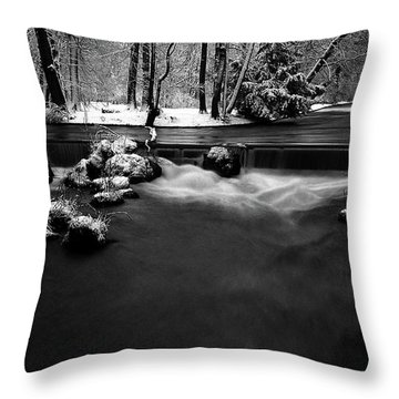 Eisbach In The Winter Throw Pillow by Hannes Cmarits