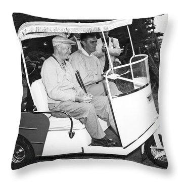 Eisenhower In A Golf Cart Throw Pillow