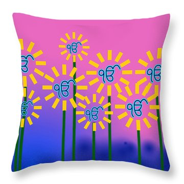 Ek Onkar Flowers Throw Pillow