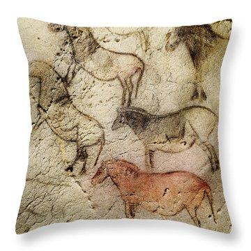 Ekain Cave Horses Throw Pillow