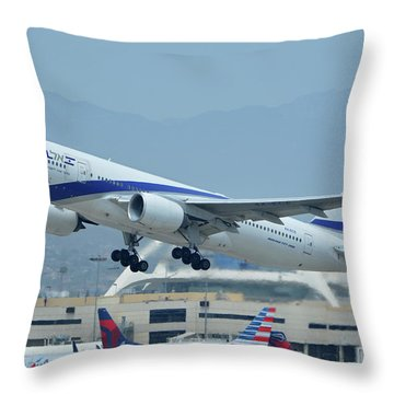 Throw Pillow featuring the photograph El Al Boeing 777-258er 4x-ece Los Angeles International Airport May 3 2016 by Brian Lockett