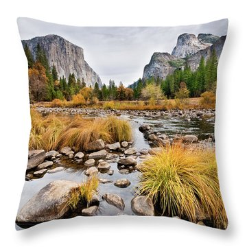 El Capitan And The Merced River In The Fall Throw Pillow
