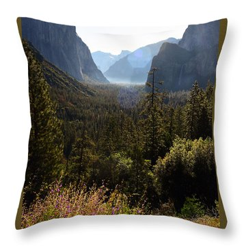 El Capitan And Yosemite Valley Throw Pillow by MaryJane Armstrong