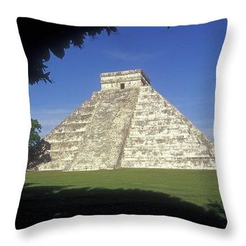 El Castillo Framed By Trees Chichen Itza Mexico Throw Pillow