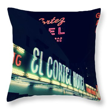 El Cortez Hotel At Night Throw Pillow