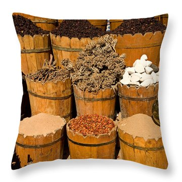 El Dahar Market Spices Throw Pillow by Aivar Mikko