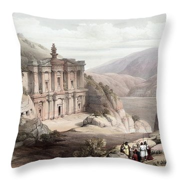 El Deir Petra 1839 Throw Pillow by Munir Alawi