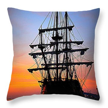 El Galeon At Sunrise Throw Pillow