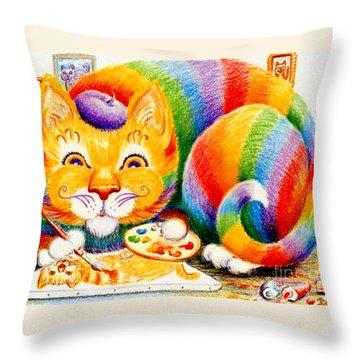 el Gato Artisto Throw Pillow by Dee Davis