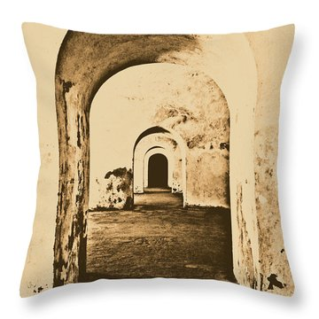 El Morro Fort Barracks Arched Doorways Vertical San Juan Puerto Rico Prints Rustic Throw Pillow by Shawn O'Brien