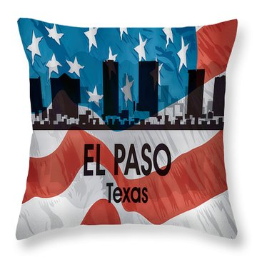 El Paso Tx American Flag Vertical Throw Pillow by Angelina Vick