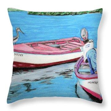 El Pescador De Guanica Throw Pillow by Luis F Rodriguez