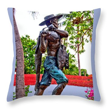 Throw Pillow featuring the photograph El Pescador by Jim Walls PhotoArtist
