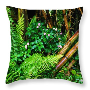 El Yunque National Forest Ferns Impatiens Bamboo Mirror Image Throw Pillow by Thomas R Fletcher