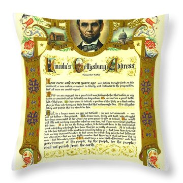 Throw Pillow featuring the painting Elaborate Victorian Gettysburg Address Illuminated Manuscript With Lincoln Portrait by Peter Gumaer Ogden