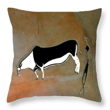 Throw Pillow featuring the digital art Eland And Man by Asok Mukhopadhyay