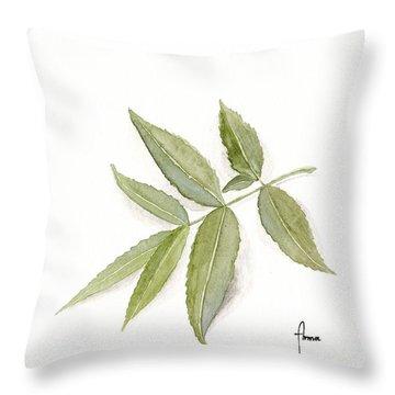 Elderberry Leaf Throw Pillow by Annemeet Hasidi- van der Leij