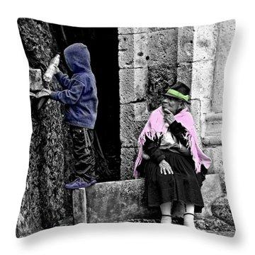Throw Pillow featuring the photograph Elderly Beggar In Biblian II by Al Bourassa