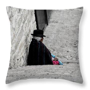 Throw Pillow featuring the photograph Elderly Beggar In Chordeleg by Al Bourassa