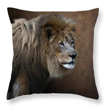 Throw Pillow featuring the photograph Elderly Gentleman Lion by Debi Dalio