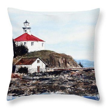 Eldred Rock Lighthouse Throw Pillow