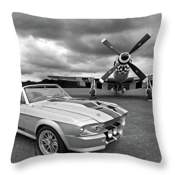 Eleanor Mustang With P51 Black And White Throw Pillow