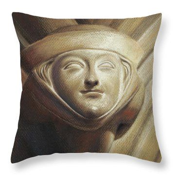 Throw Pillow featuring the pastel Eleanor Of Aquitaine by Joe Winkler