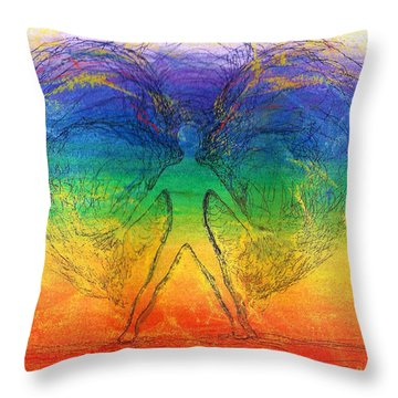 Throw Pillow featuring the mixed media Electric Angel by Denise Fulmer