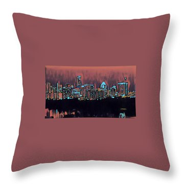 Electric Austin At Dusk Throw Pillow