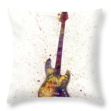Electric Bass Guitar Abstract Watercolor Throw Pillow
