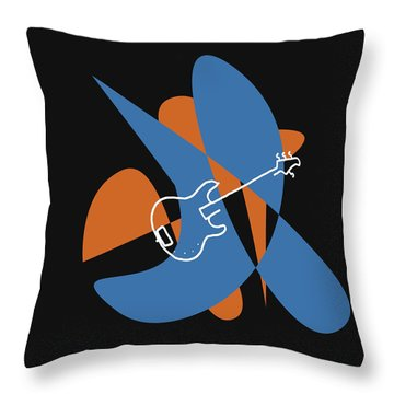 Electric Bass In Blue Throw Pillow