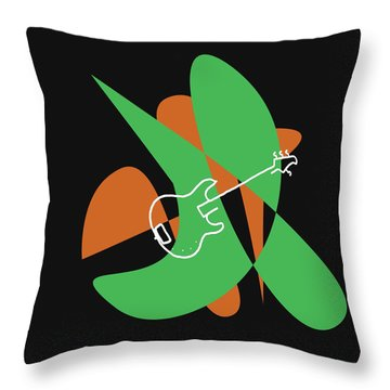 Electric Bass In Green Throw Pillow