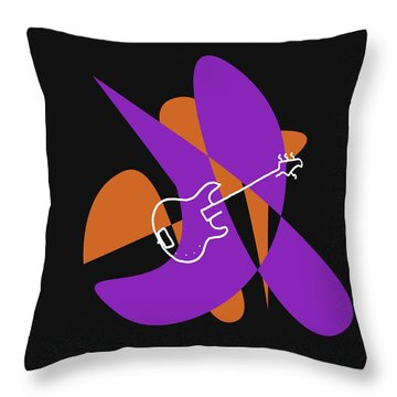 Electric Bass In Purple Throw Pillow