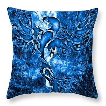 Electric Blue Phoenix Throw Pillow by Robert Ball