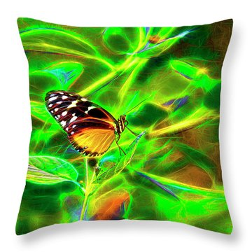 Electric Butterfly Throw Pillow by James Steele