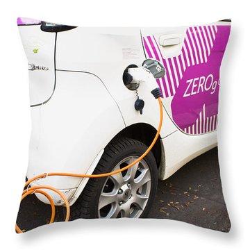 Electric Car Throw Pillow