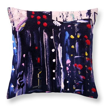 Throw Pillow featuring the painting Electric Company by Mary Carol Williams