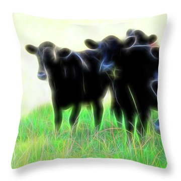 Electric Cows Throw Pillow by Ann Powell