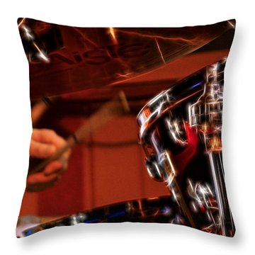 Electric Drums Throw Pillow by Cameron Wood