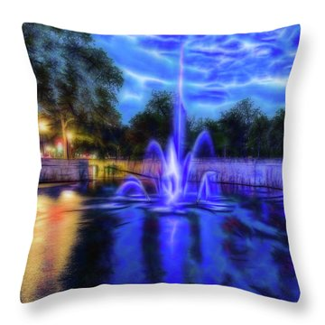 Throw Pillow featuring the photograph Electric Fountain  by Scott Carruthers