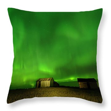 Electric Green Skies Throw Pillow