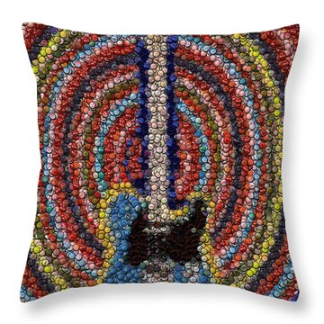 Throw Pillow featuring the mixed media Electric Guitar Bottle Cap Mosaic by Paul Van Scott