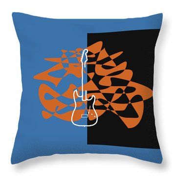 Electric Guitar In Blue Throw Pillow