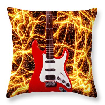 Electric Guitar With Sparks Throw Pillow by Garry Gay