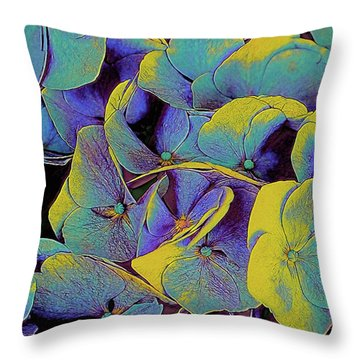 Throw Pillow featuring the mixed media Electric Hydrangea by Susan Maxwell Schmidt