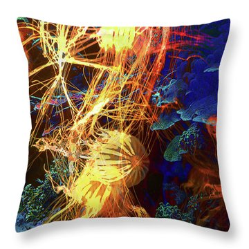 Electric Jellies Throw Pillow by Robert Ball