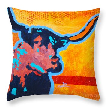 Electric Longhorn Throw Pillow by Ron Stephens