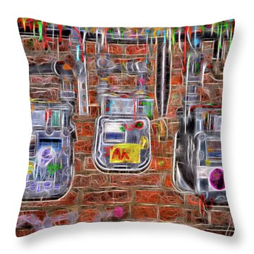 Electric Meters Throw Pillow by Spencer McDonald